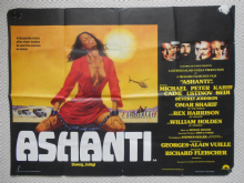 Ashanti, Original UK Quad Poster, Michael Caine, Omar Sharif, Peter Ustinov, '79
